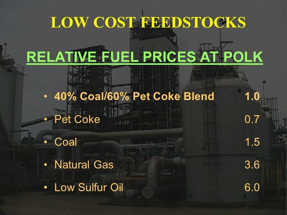 RELATIVE FUEL PRICES AT POLK 40% Coal/60% Pet Coke Blend1.0 Pet Coke0.7 Coal 1.5 Natural Gas 3.6 Low Sulfur Oil6.0 LOW COST FEEDSTOCKS