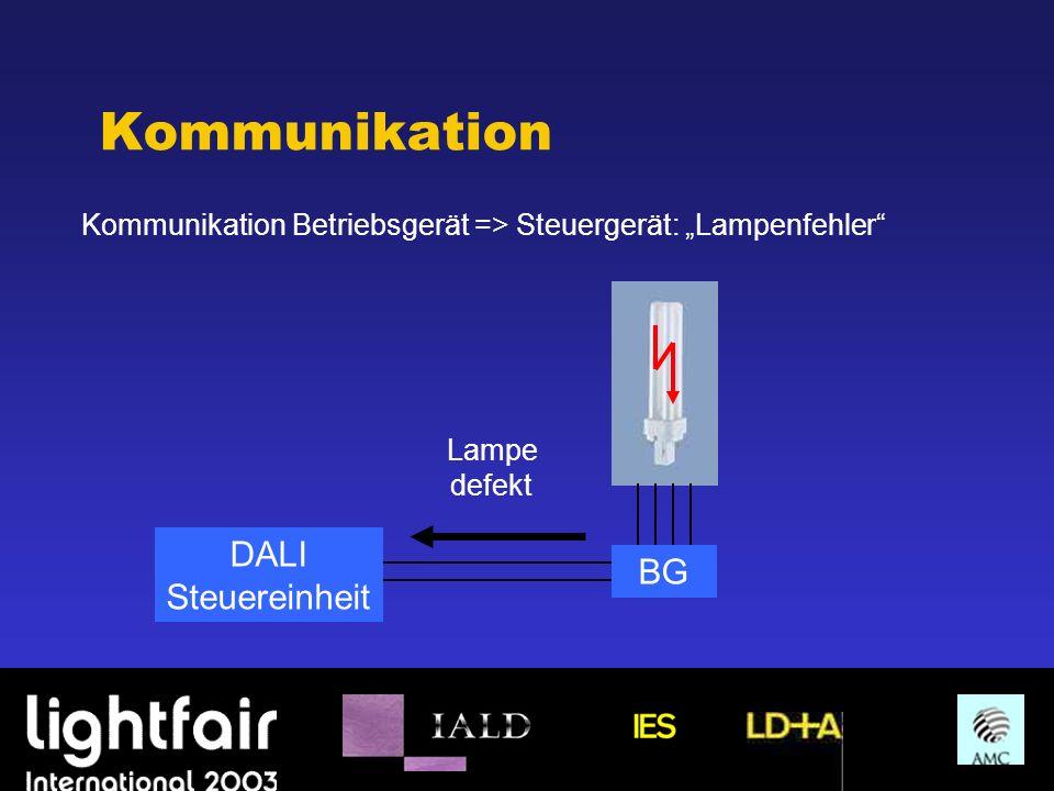 Kommunikation Kommunikation Betriebsgerät => Steuergerät: Lampenfehler DALI Steuereinheit BG Lampe defekt