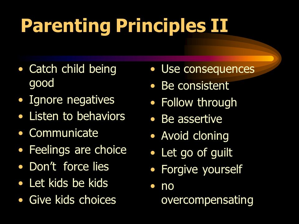 Parenting Principles II Catch child being good Ignore negatives Listen to behaviors Communicate Feelings are choice Dont force lies Let kids be kids Give kids choices Use consequences Be consistent Follow through Be assertive Avoid cloning Let go of guilt Forgive yourself no overcompensating