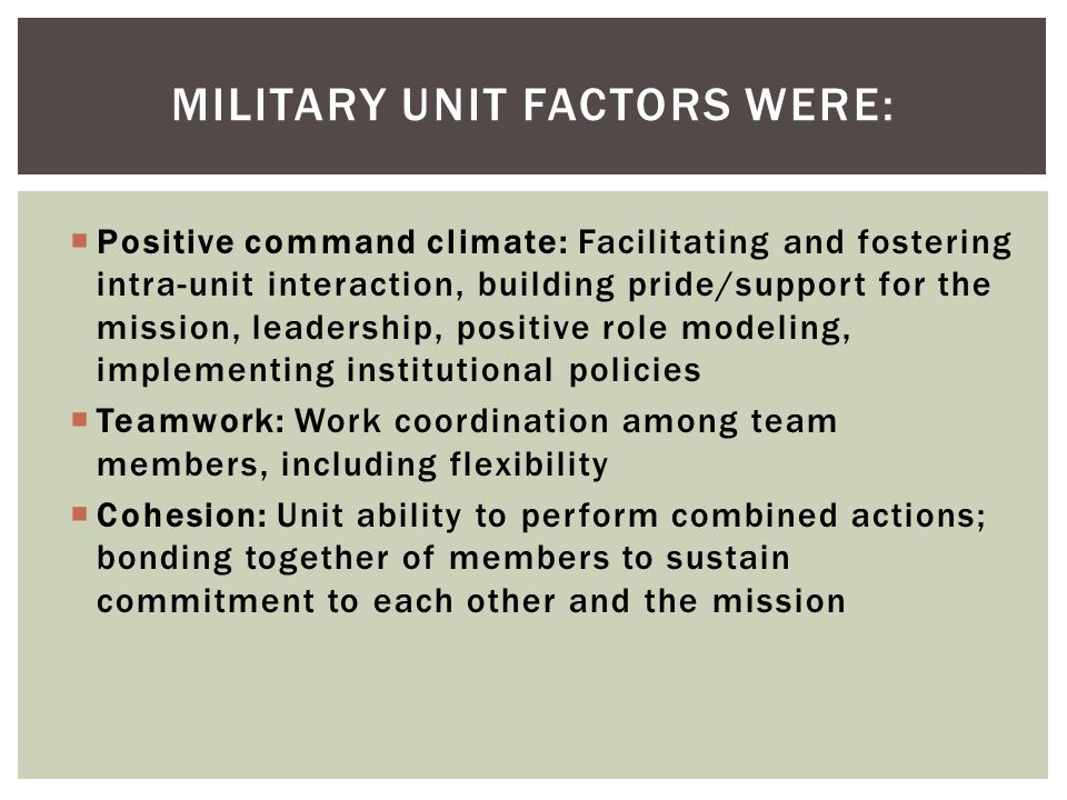 Positive command climate: Facilitating and fostering intra-unit interaction, building pride/support for the mission, leadership, positive role modeling, implementing institutional policies Teamwork: Work coordination among team members, including flexibility Cohesion: Unit ability to perform combined actions; bonding together of members to sustain commitment to each other and the mission MILITARY UNIT FACTORS WERE: