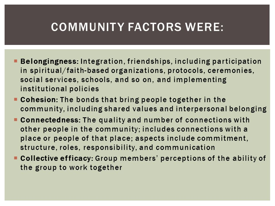 Belongingness: Integration, friendships, including participation in spiritual/faith-based organizations, protocols, ceremonies, social services, schools, and so on, and implementing institutional policies Cohesion: The bonds that bring people together in the community, including shared values and interpersonal belonging Connectedness: The quality and number of connections with other people in the community; includes connections with a place or people of that place; aspects include commitment, structure, roles, responsibility, and communication Collective efficacy: Group members perceptions of the ability of the group to work together COMMUNITY FACTORS WERE: