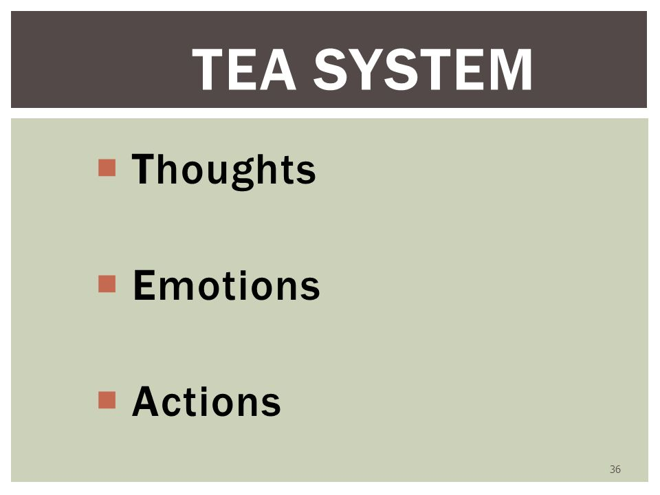 36 TEA SYSTEM Thoughts Emotions Actions