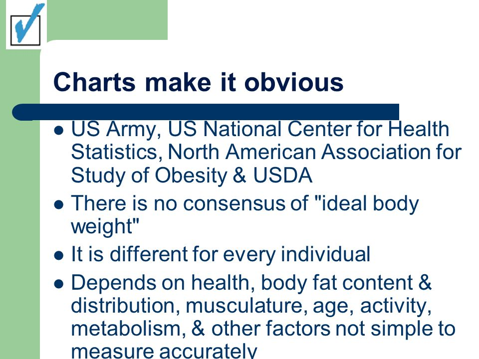 Charts make it obvious US Army, US National Center for Health Statistics, North American Association for Study of Obesity & USDA There is no consensus of ideal body weight It is different for every individual Depends on health, body fat content & distribution, musculature, age, activity, metabolism, & other factors not simple to measure accurately