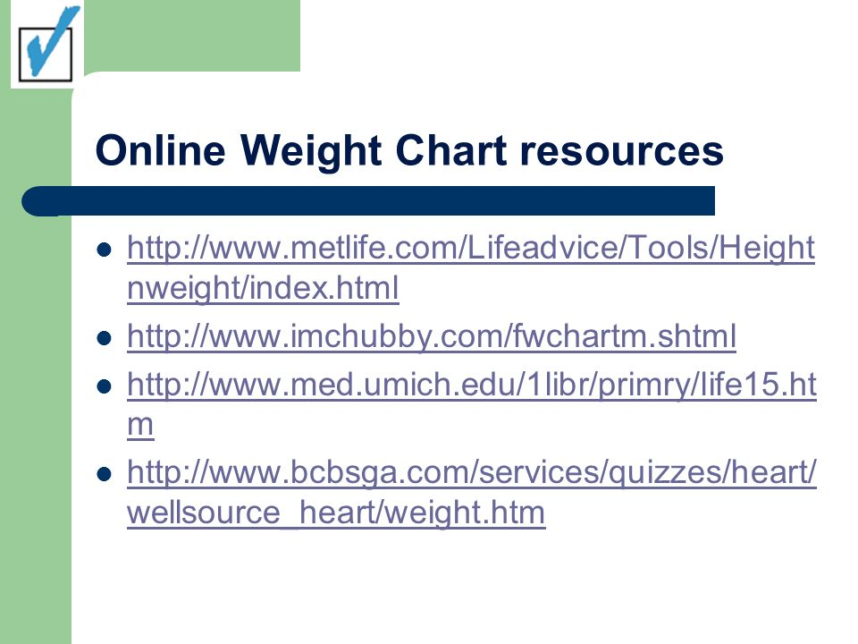 Online Weight Chart resources http://www.metlife.com/Lifeadvice/Tools/Height nweight/index.html http://www.metlife.com/Lifeadvice/Tools/Height nweight/index.html http://www.imchubby.com/fwchartm.shtml http://www.med.umich.edu/1libr/primry/life15.ht m http://www.med.umich.edu/1libr/primry/life15.ht m http://www.bcbsga.com/services/quizzes/heart/ wellsource_heart/weight.htm http://www.bcbsga.com/services/quizzes/heart/ wellsource_heart/weight.htm