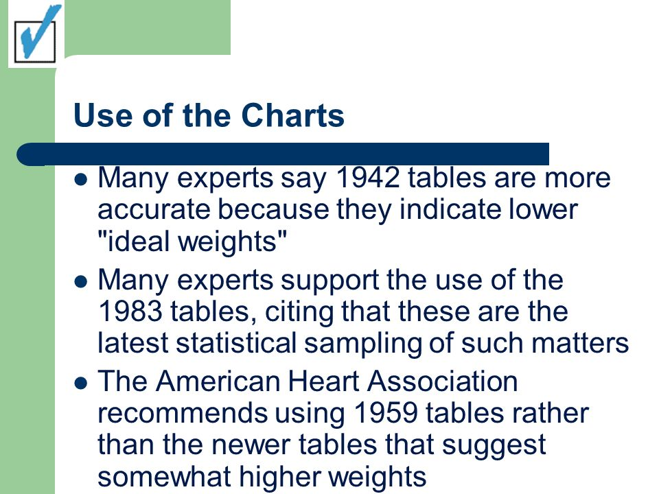Use of the Charts Many experts say 1942 tables are more accurate because they indicate lower