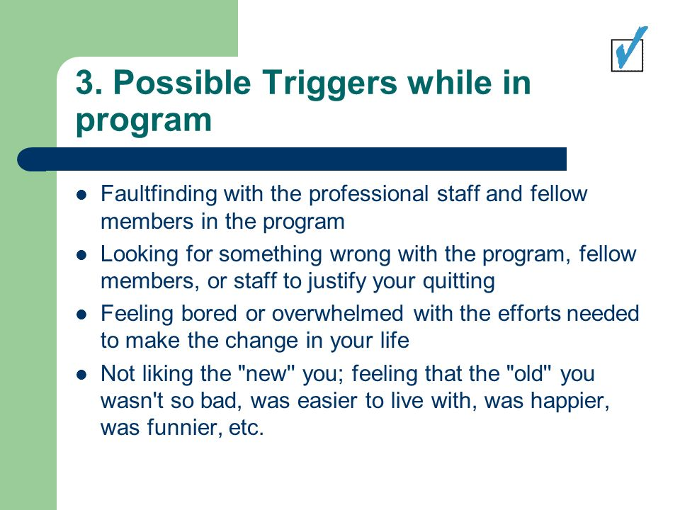 3. Possible Triggers while in program Faultfinding with the professional staff and fellow members in the program Looking for something wrong with the
