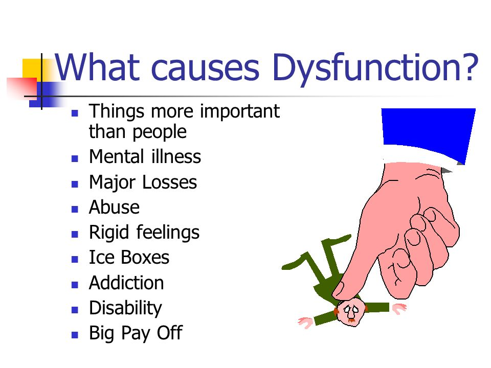 What causes Dysfunction? Things more important than people Mental illness Major Losses Abuse Rigid feelings Ice Boxes Addiction Disability Big Pay Off