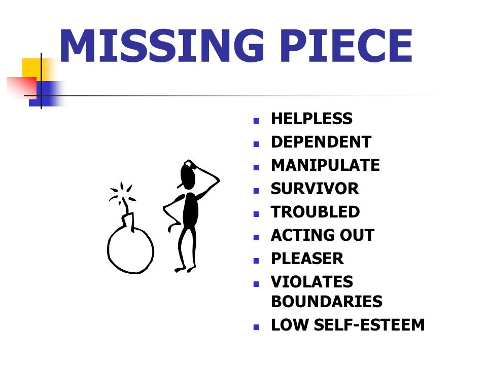 MISSING PIECE HELPLESS DEPENDENT MANIPULATE SURVIVOR TROUBLED ACTING OUT PLEASER VIOLATES BOUNDARIES LOW SELF-ESTEEM