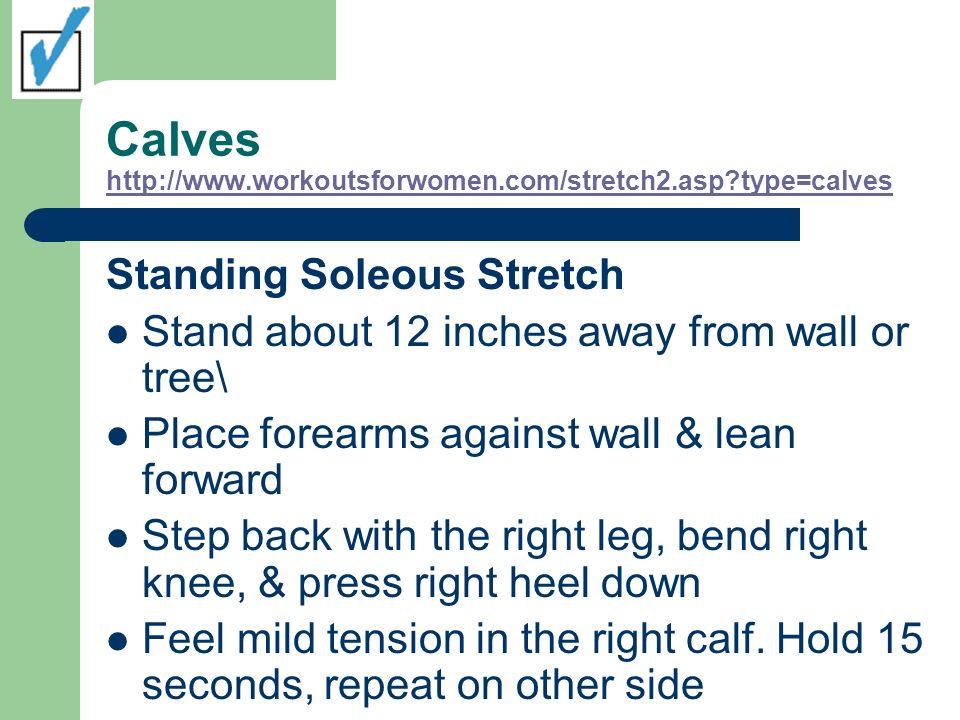 Calves http://www.workoutsforwomen.com/stretch2.asp?type=calves http://www.workoutsforwomen.com/stretch2.asp?type=calves Standing Soleous Stretch Stan
