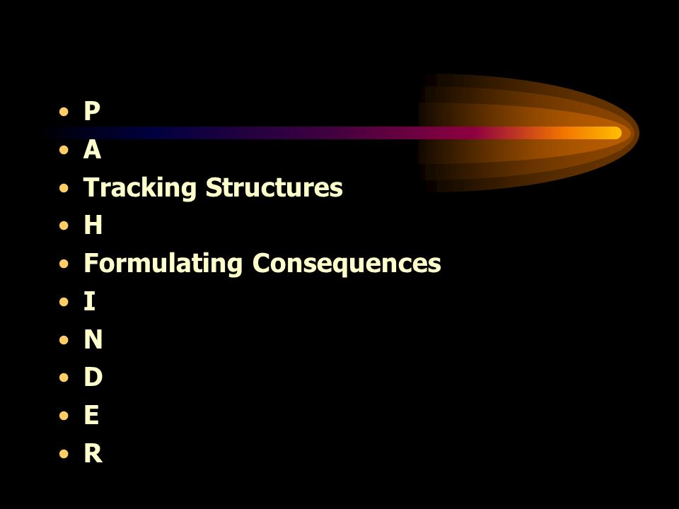 P A Tracking Structures H Formulating Consequences I N D E R