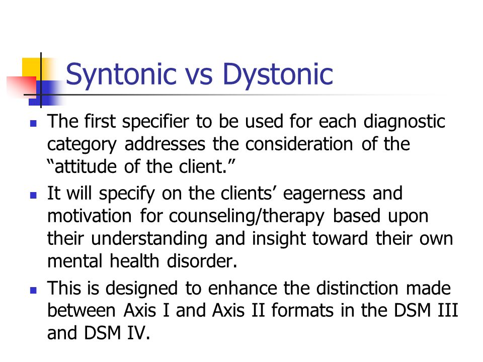 Syntonic vs Dystonic The first specifier to be used for each diagnostic category addresses the consideration of the attitude of the client. It will sp