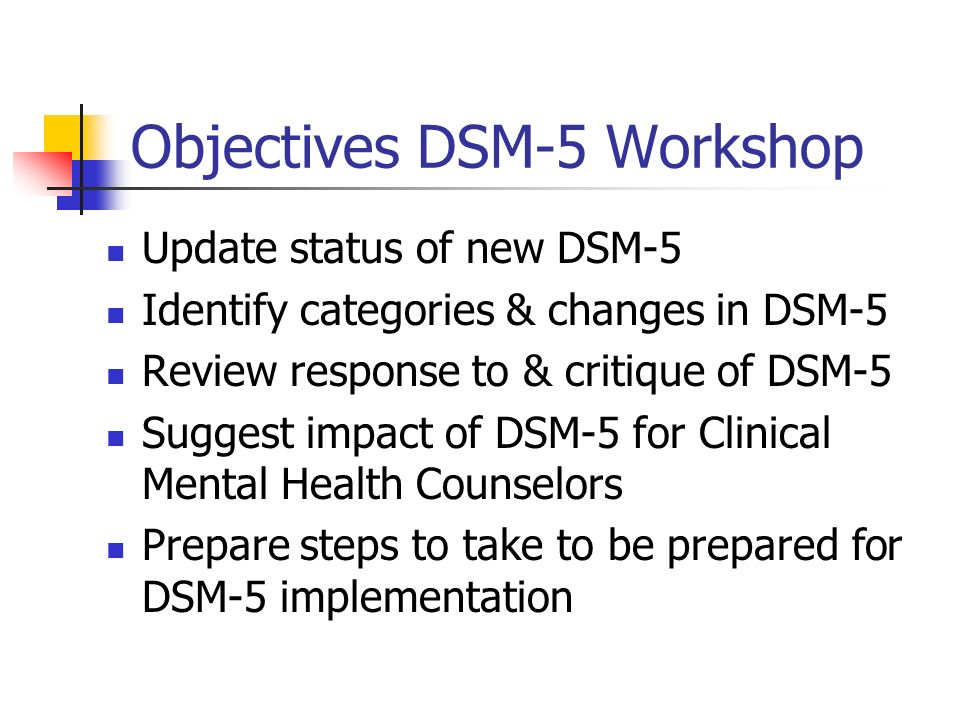 Objectives DSM-5 Workshop Update status of new DSM-5 Identify categories & changes in DSM-5 Review response to & critique of DSM-5 Suggest impact of D