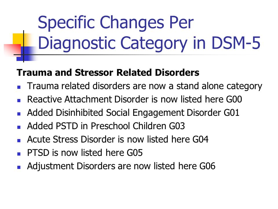 Specific Changes Per Diagnostic Category in DSM-5 Trauma and Stressor Related Disorders Trauma related disorders are now a stand alone category Reacti
