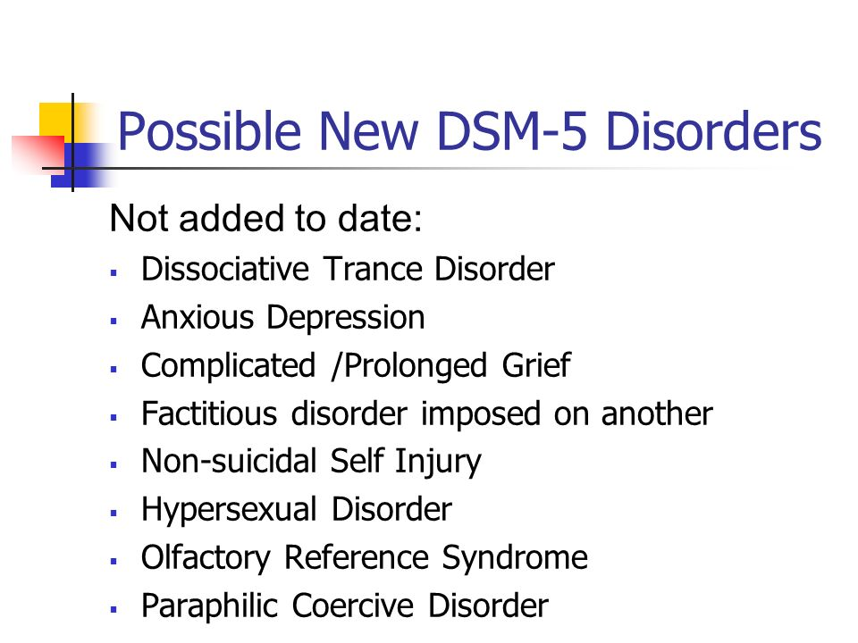 Possible New DSM-5 Disorders Not added to date: Dissociative Trance Disorder Anxious Depression Complicated /Prolonged Grief Factitious disorder impos