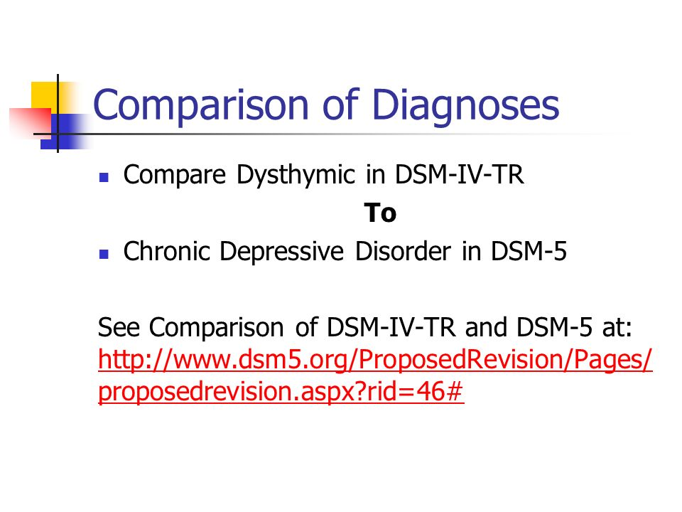 Comparison of Diagnoses Compare Dysthymic in DSM-IV-TR To Chronic Depressive Disorder in DSM-5 See Comparison of DSM-IV-TR and DSM-5 at: http://www.ds