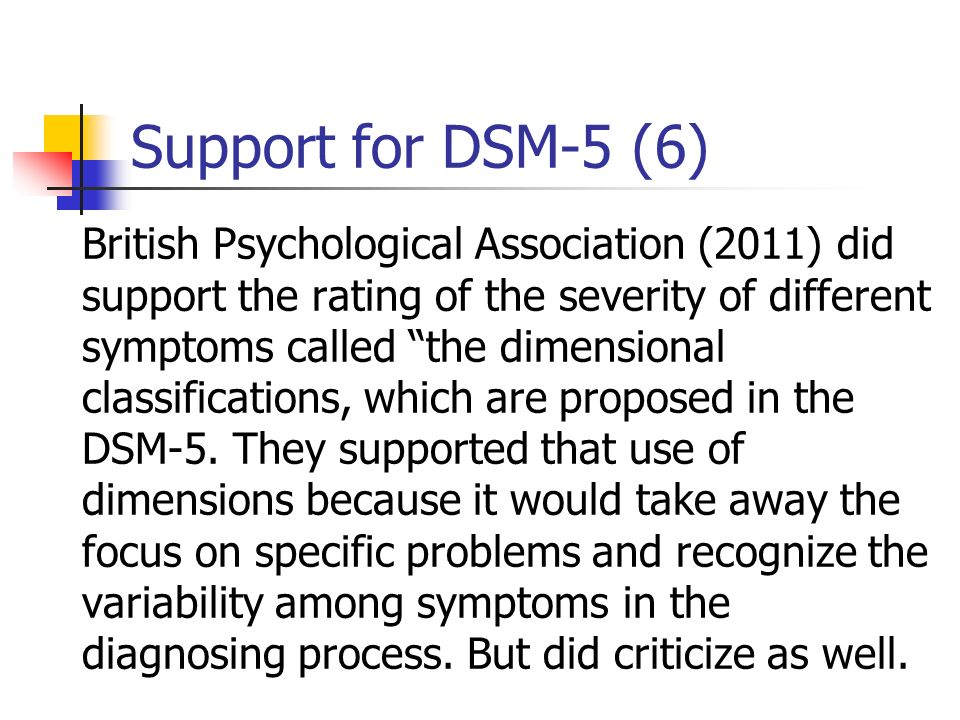 Support for DSM-5 (6) British Psychological Association (2011) did support the rating of the severity of different symptoms called the dimensional cla