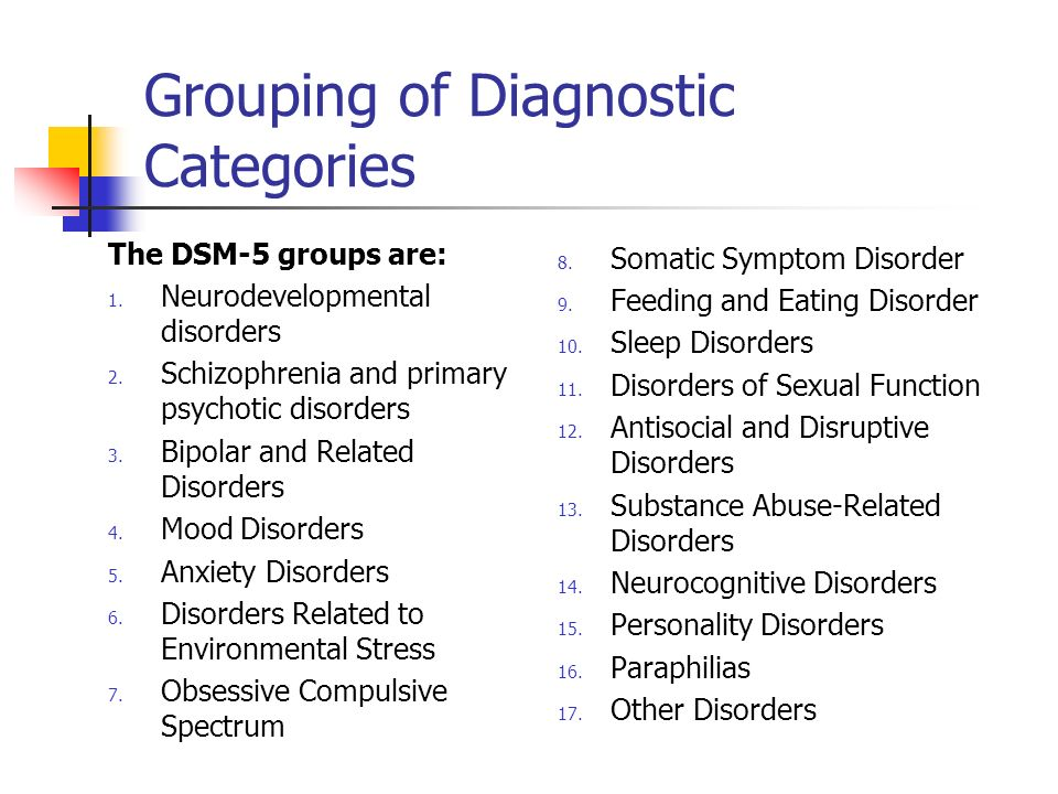Grouping of Diagnostic Categories The DSM-5 groups are: 1. Neurodevelopmental disorders 2. Schizophrenia and primary psychotic disorders 3. Bipolar an