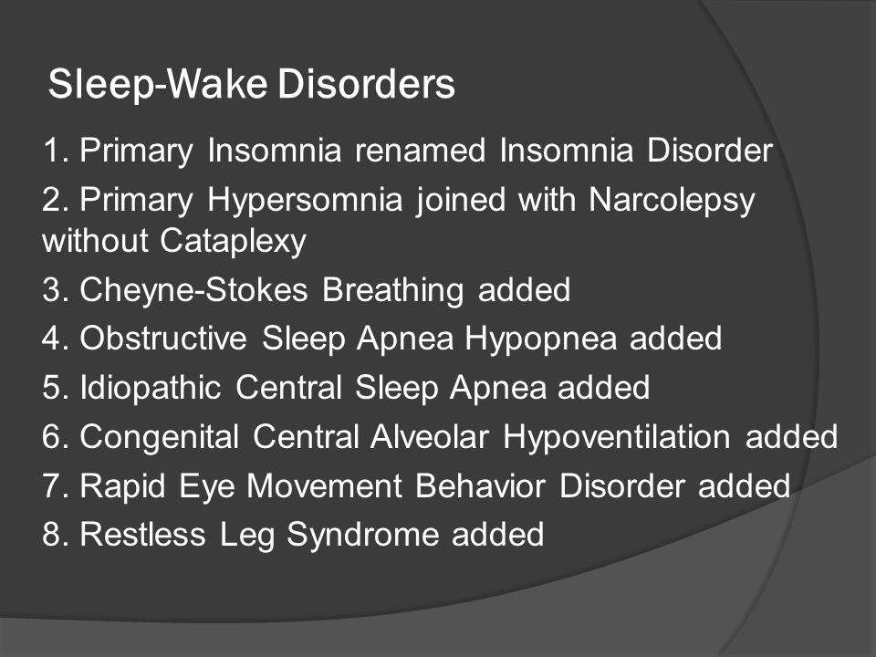 Sleep-Wake Disorders 1. Primary Insomnia renamed Insomnia Disorder 2. Primary Hypersomnia joined with Narcolepsy without Cataplexy 3. Cheyne-Stokes Br