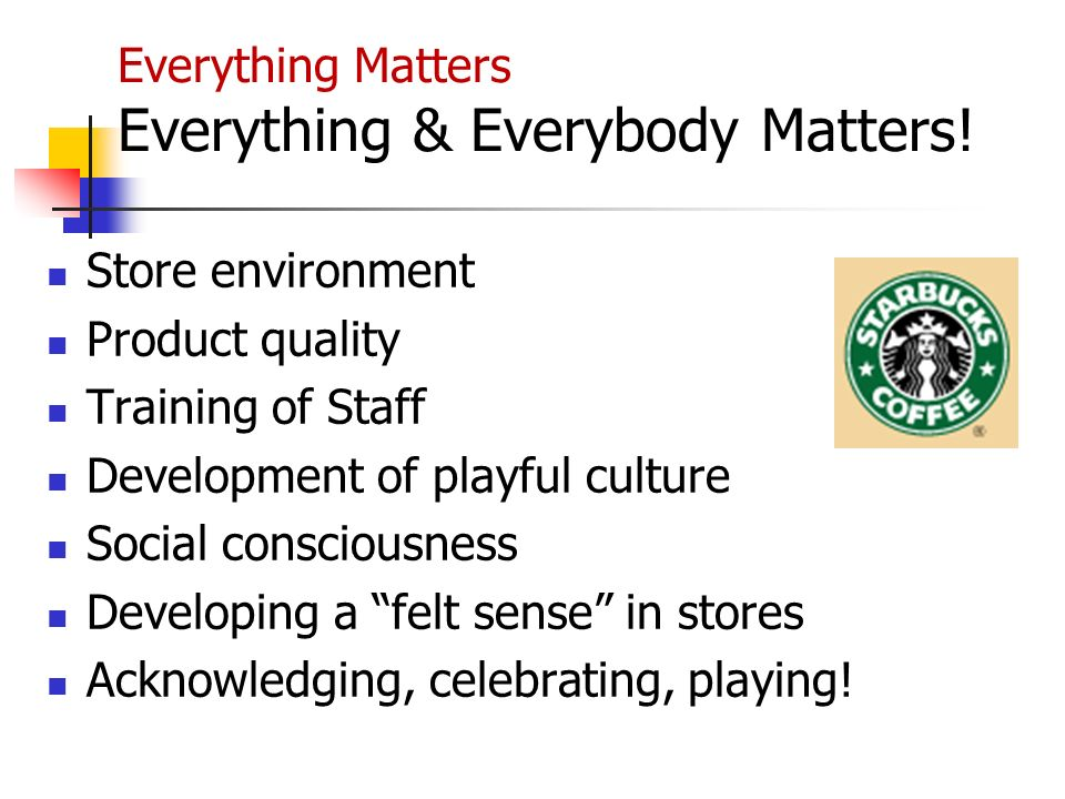 Everything Matters Everything & Everybody Matters! Store environment Product quality Training of Staff Development of playful culture Social conscious