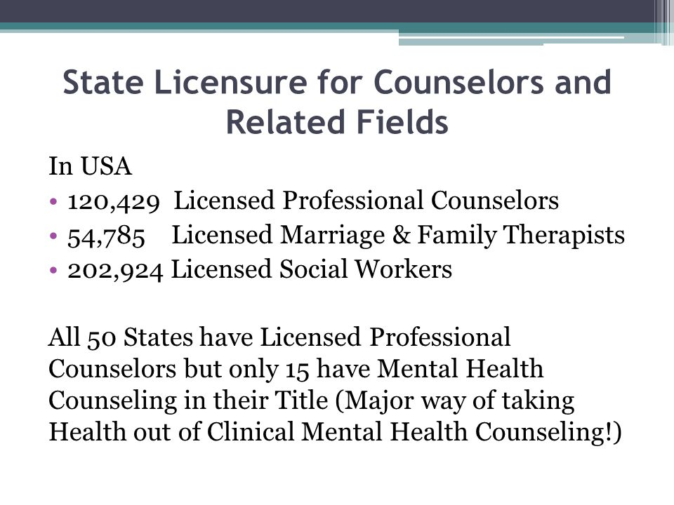 State Licensure for Counselors and Related Fields In USA 120,429 Licensed Professional Counselors 54,785 Licensed Marriage & Family Therapists 202,924