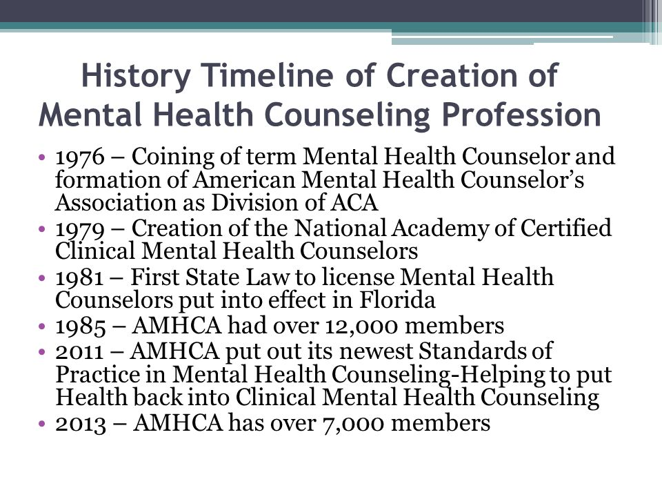 History Timeline of Creation of Mental Health Counseling Profession 1976 – Coining of term Mental Health Counselor and formation of American Mental Health Counselors Association as Division of ACA 1979 – Creation of the National Academy of Certified Clinical Mental Health Counselors 1981 – First State Law to license Mental Health Counselors put into effect in Florida 1985 – AMHCA had over 12,000 members 2011 – AMHCA put out its newest Standards of Practice in Mental Health Counseling-Helping to put Health back into Clinical Mental Health Counseling 2013 – AMHCA has over 7,000 members