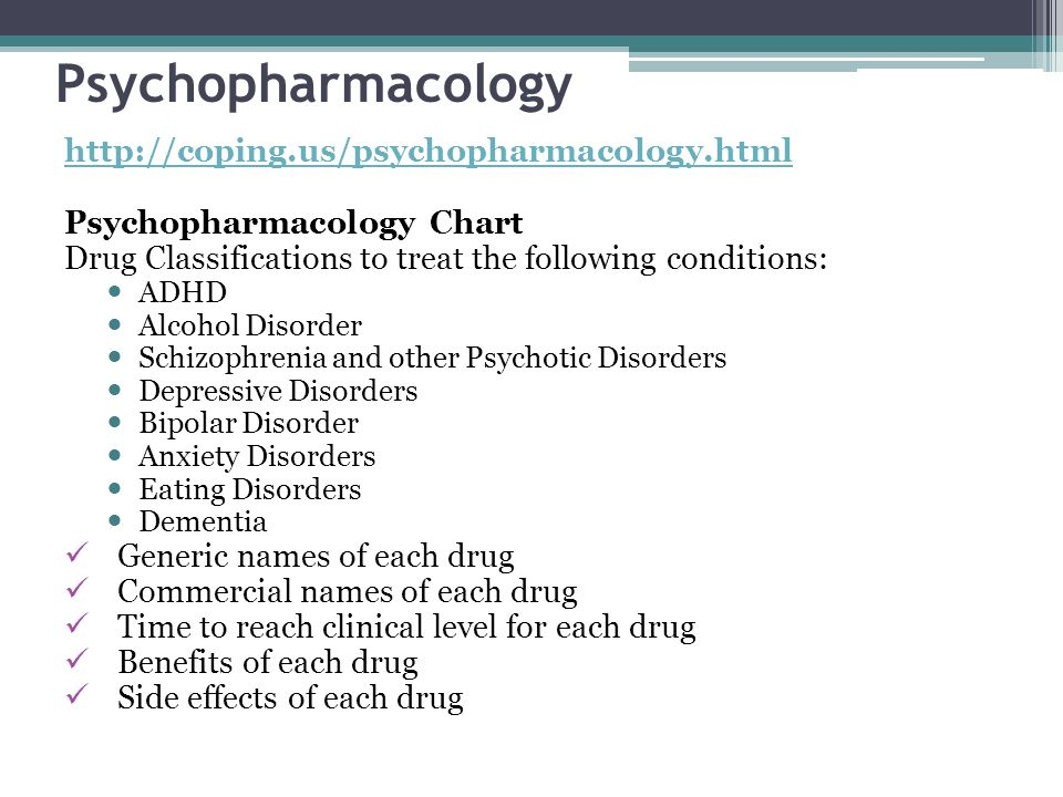 Psychopharmacology http://coping.us/psychopharmacology.html Psychopharmacology Chart Drug Classifications to treat the following conditions: ADHD Alco