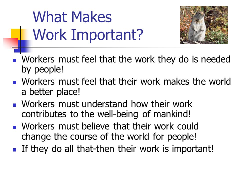 What Makes Work Important.Workers must feel that the work they do is needed by people.