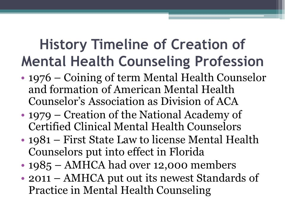 History Timeline of Creation of Mental Health Counseling Profession 1976 – Coining of term Mental Health Counselor and formation of American Mental He