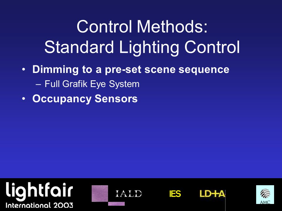 Control Methods: Standard Lighting Control Dimming to a pre-set scene sequence –Full Grafik Eye System Occupancy Sensors