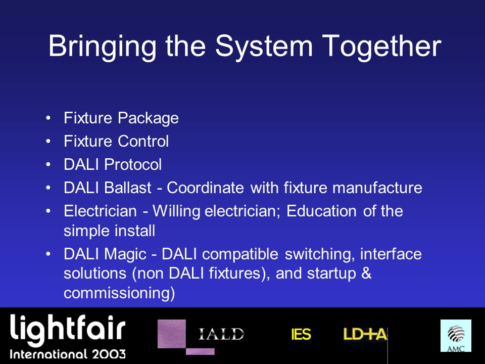 Bringing the System Together Fixture Package Fixture Control DALI Protocol DALI Ballast - Coordinate with fixture manufacture Electrician - Willing el