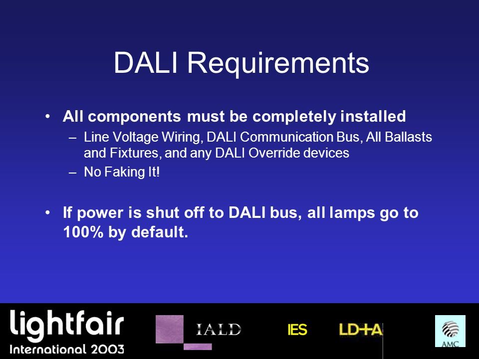 DALI Requirements All components must be completely installed –Line Voltage Wiring, DALI Communication Bus, All Ballasts and Fixtures, and any DALI Ov