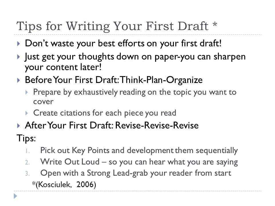 the first research paper Writing a research manuscript is an intimidating process for many novice writers in the sciences one of the stumbling blocks is the beginning of the process and creating the first draft this paper presents guidelines on how to initiate the writing process and draft each section of a research.