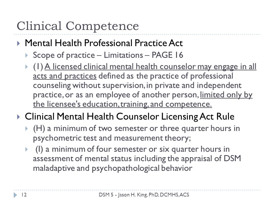 Clinical Competence 12 Mental Health Professional Practice Act Scope of practice – Limitations – PAGE 16 (1) A licensed clinical mental health counsel