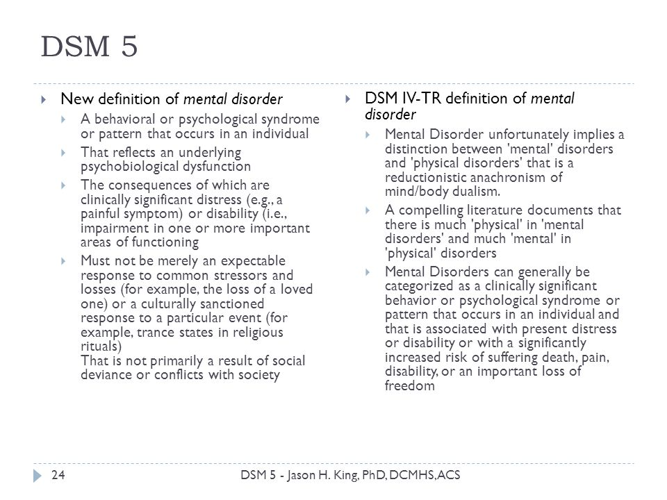 DSM 5 DSM 5 - Jason H. King, PhD, DCMHS, ACS24 New definition of mental disorder A behavioral or psychological syndrome or pattern that occurs in an i
