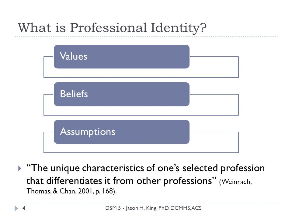 What is Professional Identity? The unique characteristics of ones selected profession that differentiates it from other professions (Weinrach, Thomas,