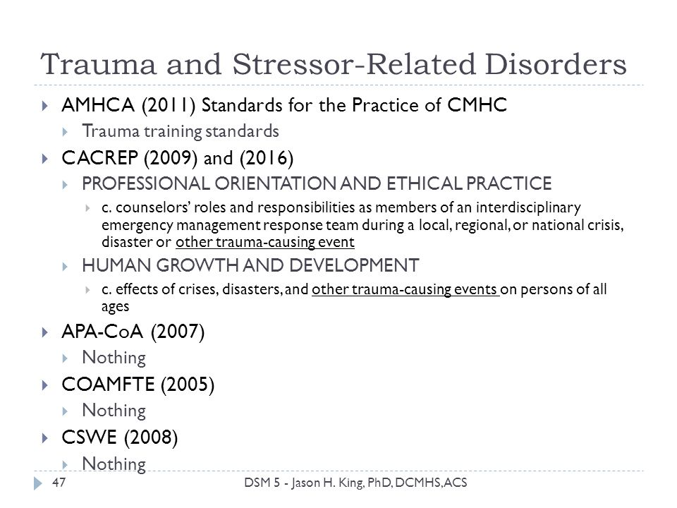 Trauma and Stressor-Related Disorders AMHCA (2011) Standards for the Practice of CMHC Trauma training standards CACREP (2009) and (2016) PROFESSIONAL
