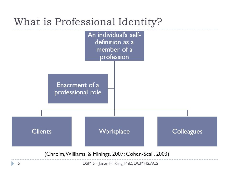 What is Professional Identity? An individuals self- definition as a member of a profession ClientsWorkplaceColleagues Enactment of a professional role
