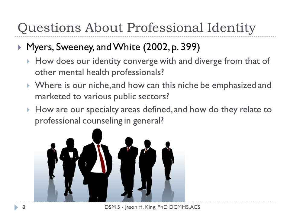 Questions About Professional Identity Myers, Sweeney, and White (2002, p. 399) How does our identity converge with and diverge from that of other ment
