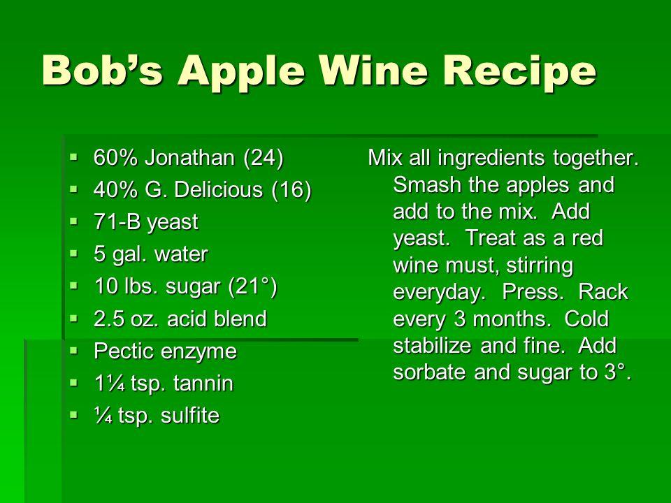 Bobs Apple Wine Recipe 60% Jonathan (24) 60% Jonathan (24) 40% G.
