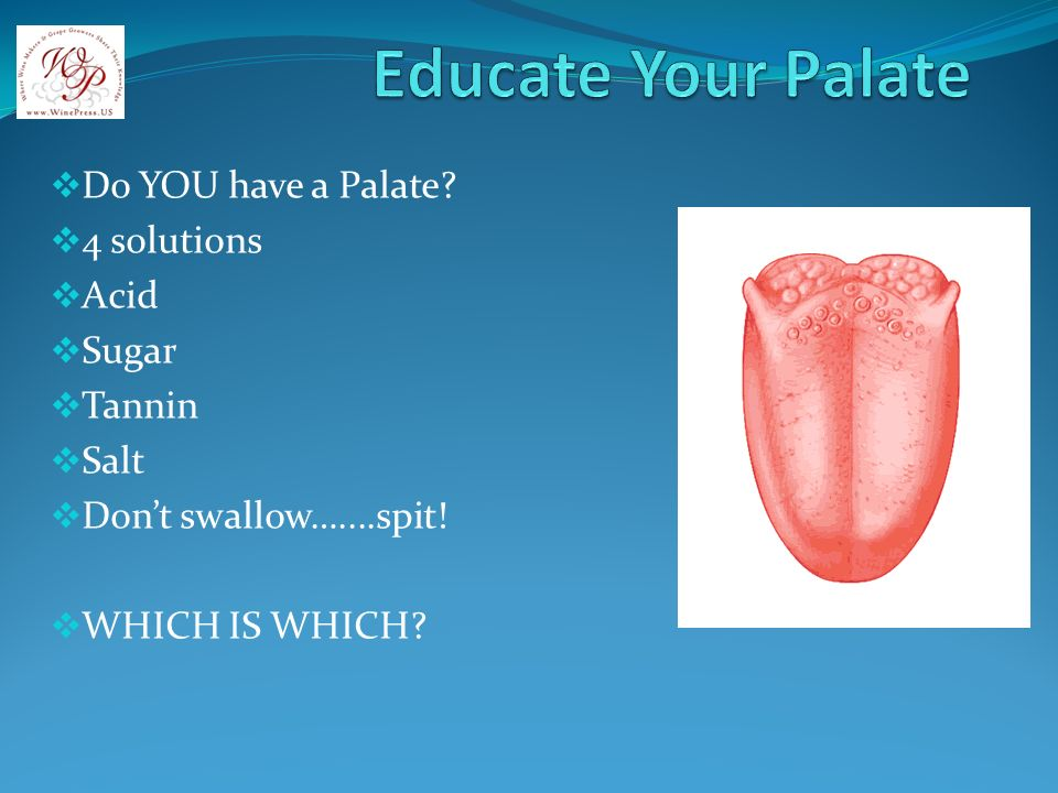 Do YOU have a Palate? 4 solutions Acid Sugar Tannin Salt Dont swallow…....spit! WHICH IS WHICH?