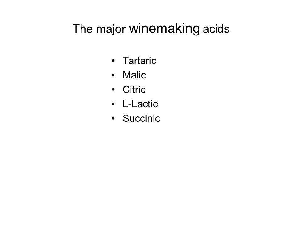 The major winemaking acids Tartaric Malic Citric L-Lactic Succinic