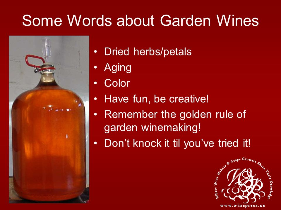 Some Words about Garden Wines Dried herbs/petals Aging Color Have fun, be creative! Remember the golden rule of garden winemaking! Dont knock it til y