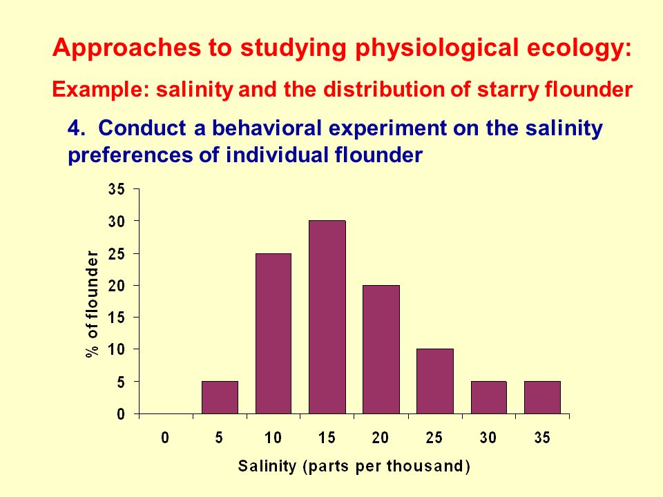 Approaches to studying physiological ecology: Example: salinity and the distribution of starry flounder 4. Conduct a behavioral experiment on the sali
