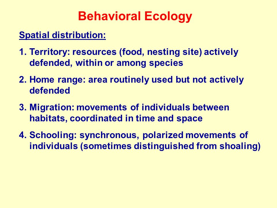 Behavioral Ecology Spatial distribution: 1.Territory: resources (food, nesting site) actively defended, within or among species 2.Home range: area routinely used but not actively defended 3.Migration: movements of individuals between habitats, coordinated in time and space 4.Schooling: synchronous, polarized movements of individuals (sometimes distinguished from shoaling)