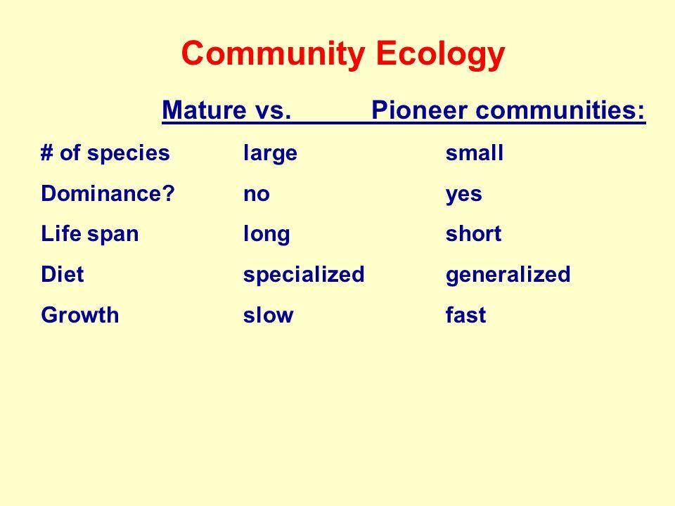 Community Ecology Mature vs. Pioneer communities: # of specieslargesmall Dominance?noyes Life spanlongshort Dietspecializedgeneralized Growthslowfast