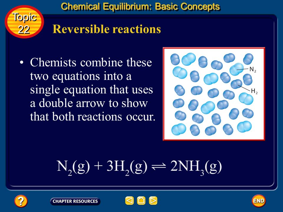 Reversible reactions Chemical Equilibrium: Basic Concepts A reversible reaction is one that can occur in both the forward and the reverse directions.