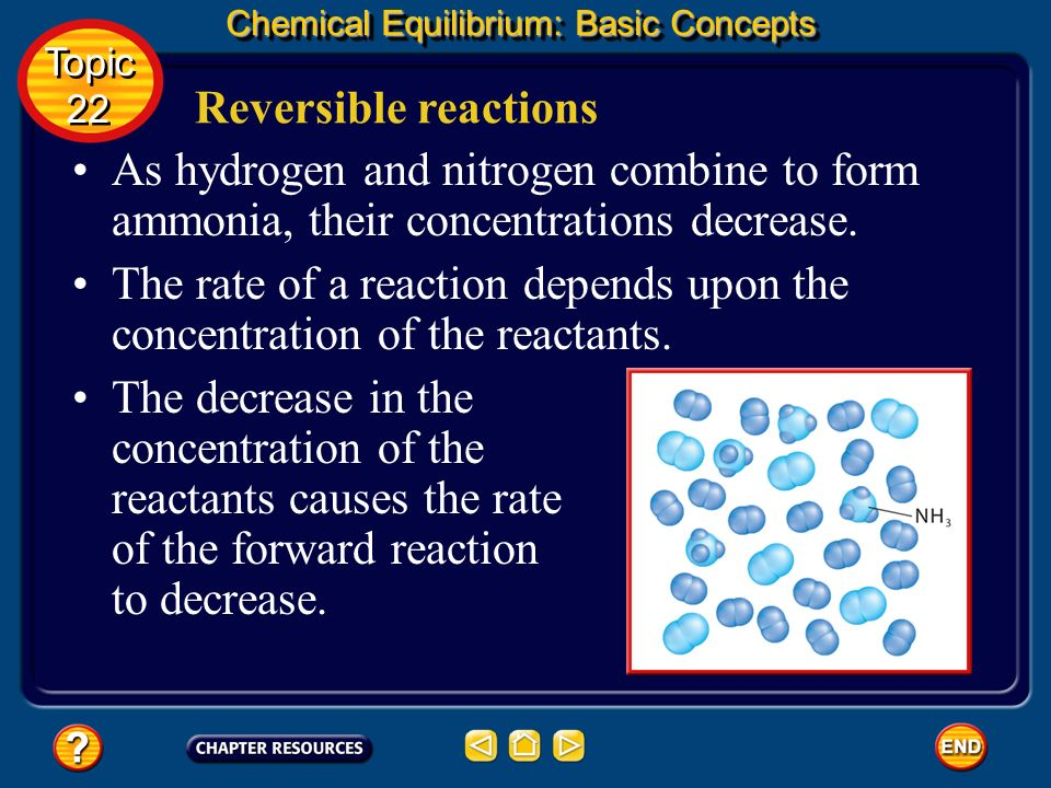 Reversible reactions Chemical Equilibrium: Basic Concepts Just as the reaction begins at a definite, initial rate; no ammonia is present so only the f