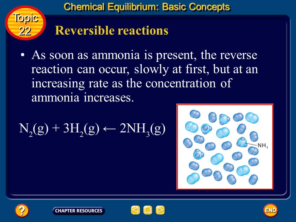 Reversible reactions Chemical Equilibrium: Basic Concepts As hydrogen and nitrogen combine to form ammonia, their concentrations decrease. Topic 22 To