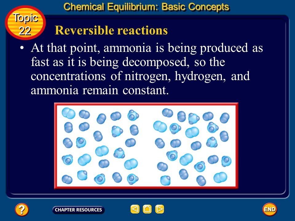 Reversible reactions Chemical Equilibrium: Basic Concepts As the reaction proceeds, the rate of the forward reaction continues to decrease and the rat
