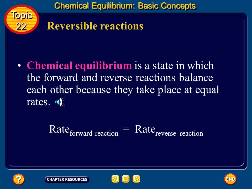 Reversible reactions Chemical Equilibrium: Basic Concepts The system has reached a state of balance or equilibrium. Topic 22 Topic 22 The word equilib